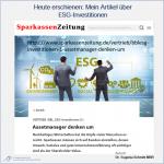 ESG Investitionen: Eine Modeerscheinung oder Strukturänderung in der Assetallocation? (Teil 1)