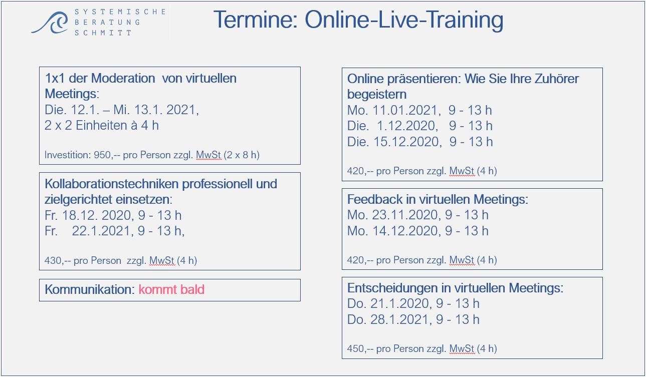 Virtuelle Meetings - Online Live Training Termine